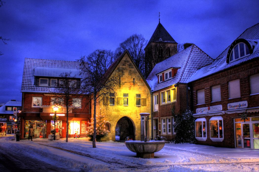 Germany Seasons Winter Houses Street lights Snow HDR Street Havixbeck cities town winter snow wallpaper