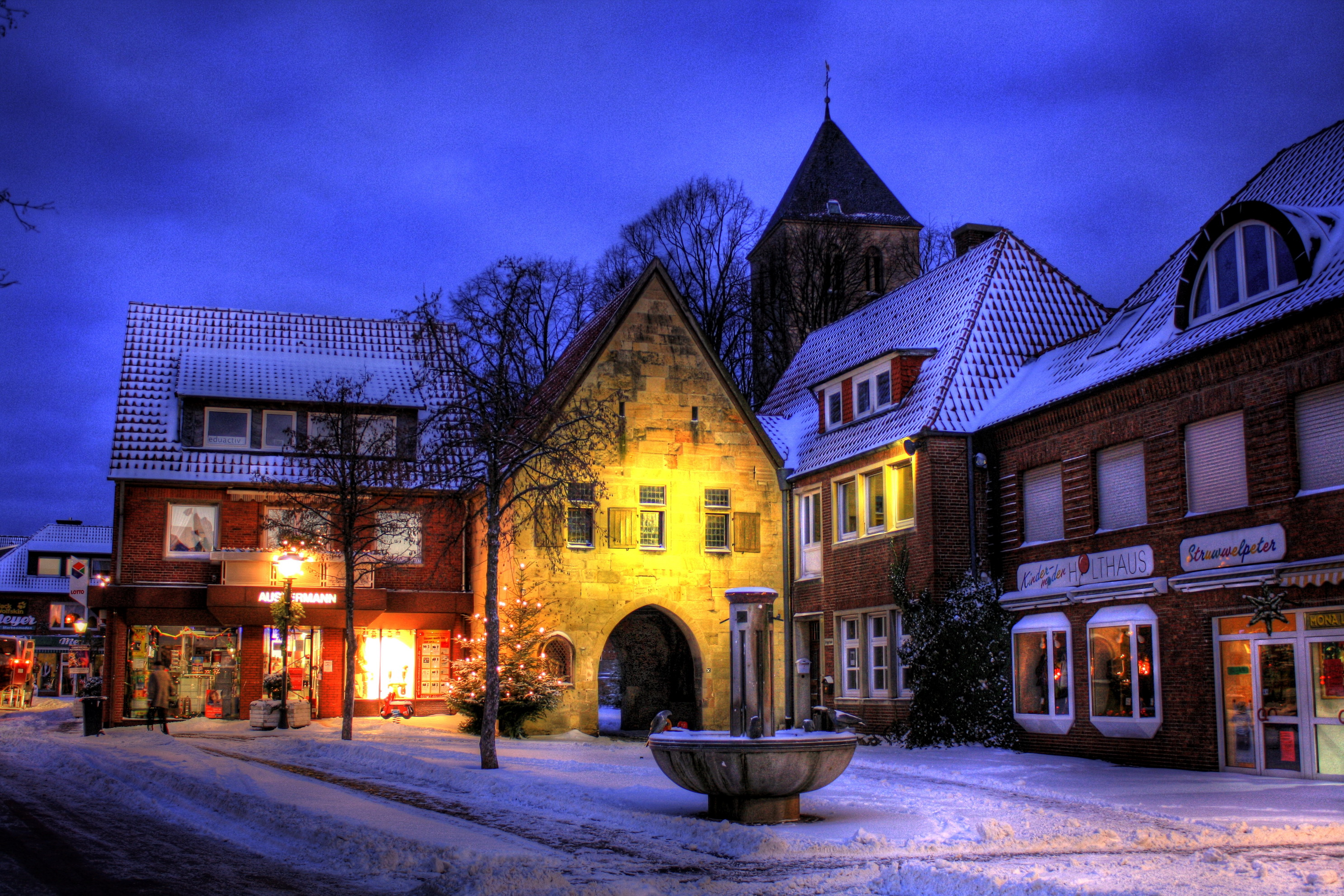 germany seasons winter houses street lights snow hdr street havixbeck cities town winter snow. Black Bedroom Furniture Sets. Home Design Ideas