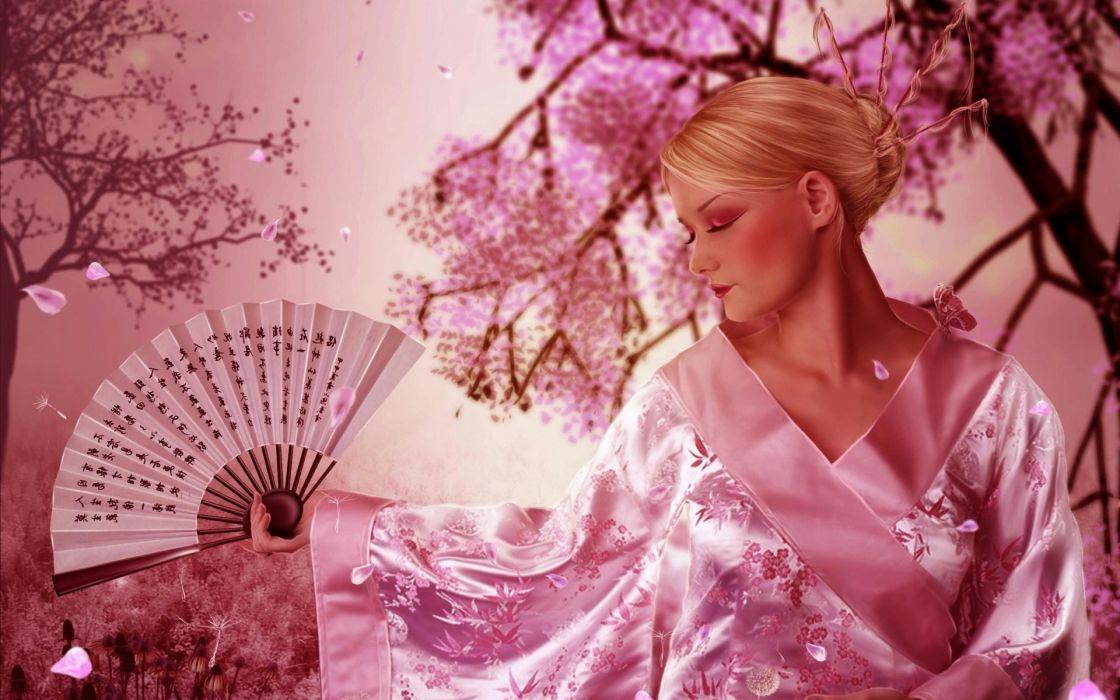 girl japanese fan sakura petals kimono blossom flowers women blondes cg digital art fantasy wallpaper
