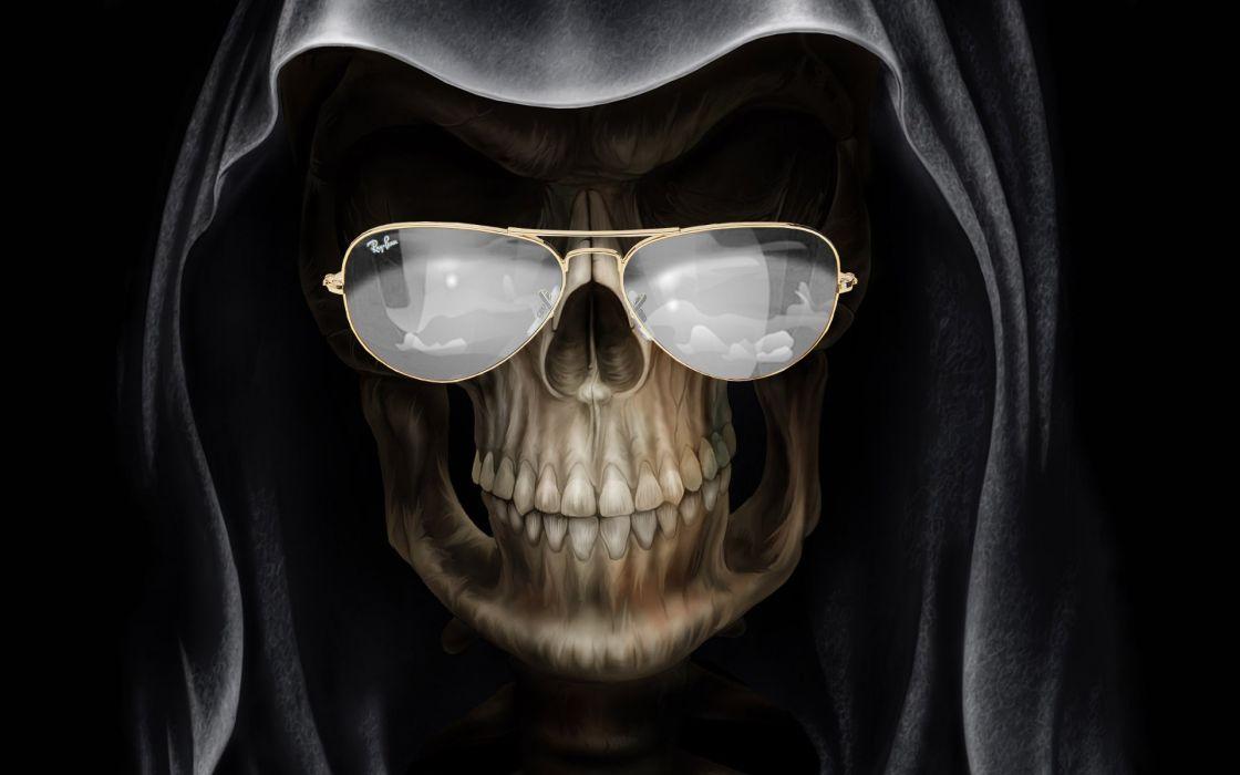 dark horror fantasy gothic glasses humor skulls grim reaper wallpaper