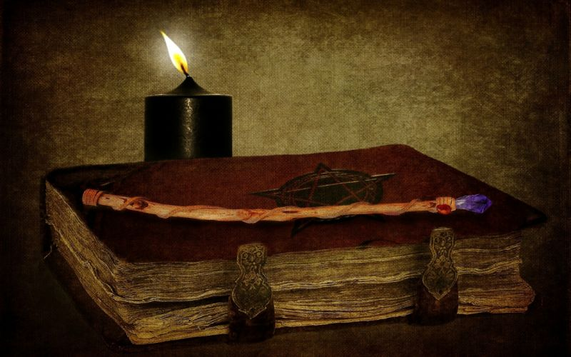 dark horror gothic occult witch candles book spell art wallpaper