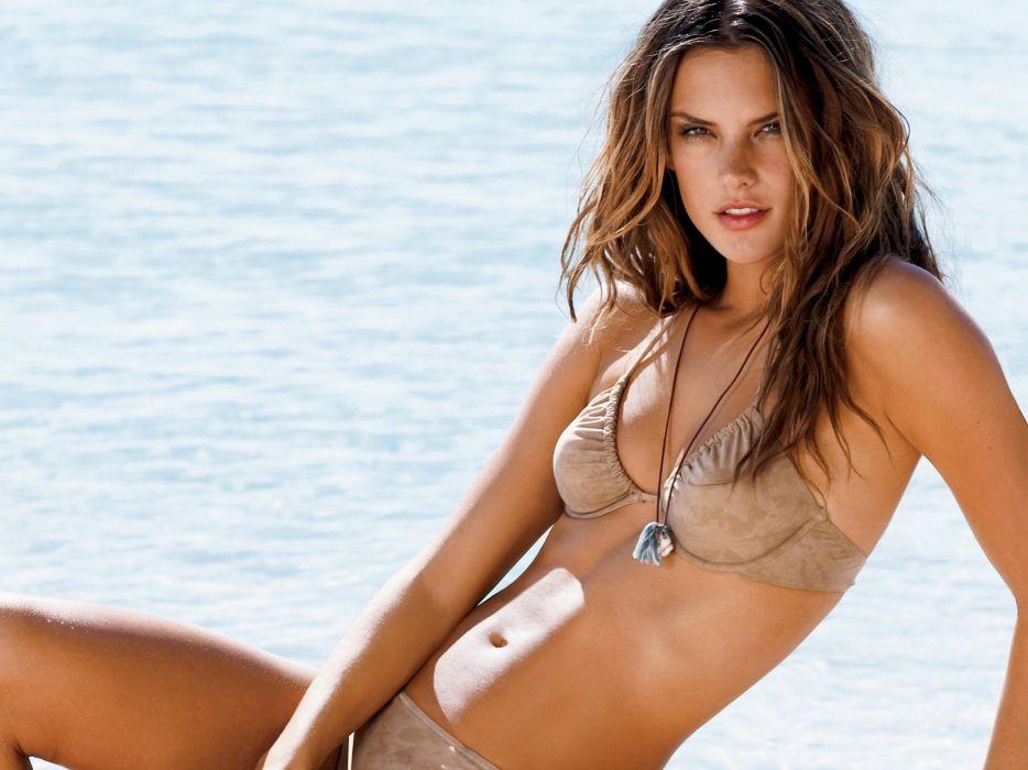 Alessandra Ambrosio model women brunette fashion sexy babes bikinis swimwear face pov wallpaper