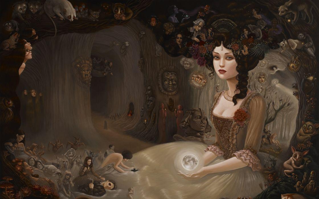 girl grief hair hairdress dress countess mood emotion occult fantasy gothic goddess women brunettes magic witch dark horror evil wallpaper