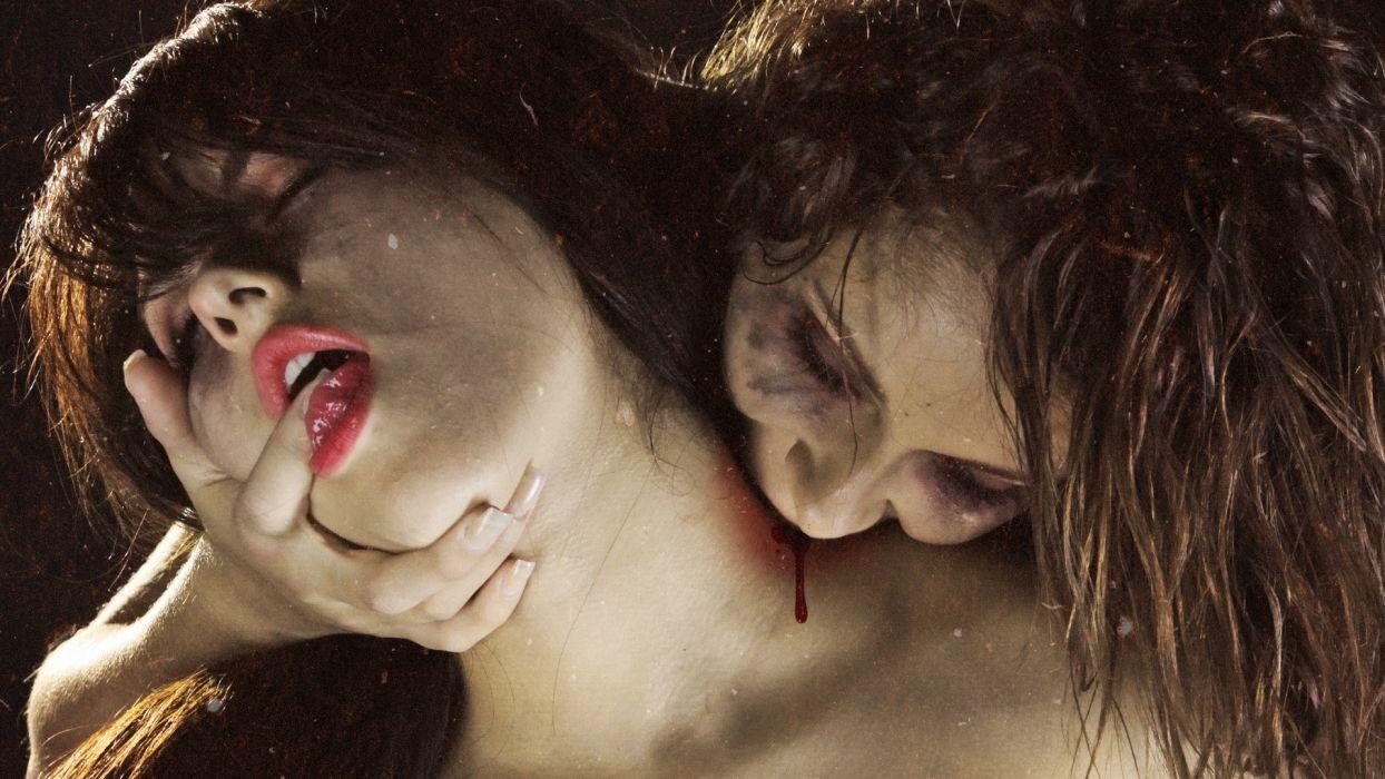 fantasy art dark horror evil blood macabre vampires women babes face lips wallpaper