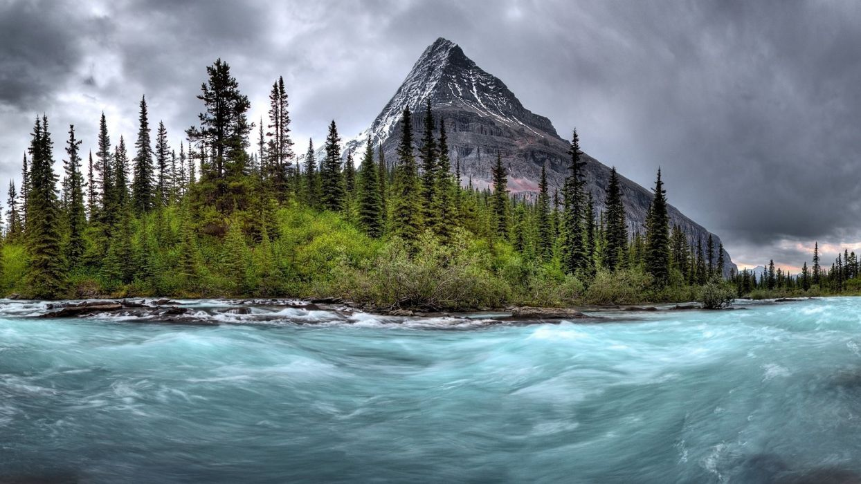 landscapes rapids timelapse trees forest woods shore bank mountains sky clouds wallpaper