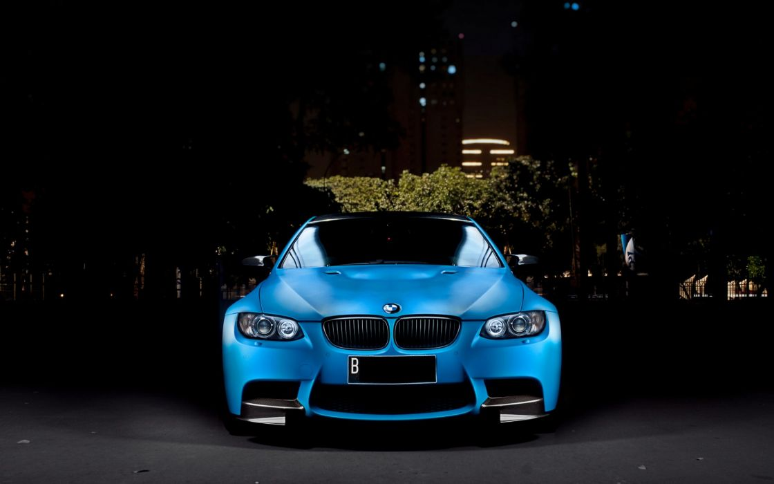 BMW M3 Cars Tuning Night City Blue wallpaper