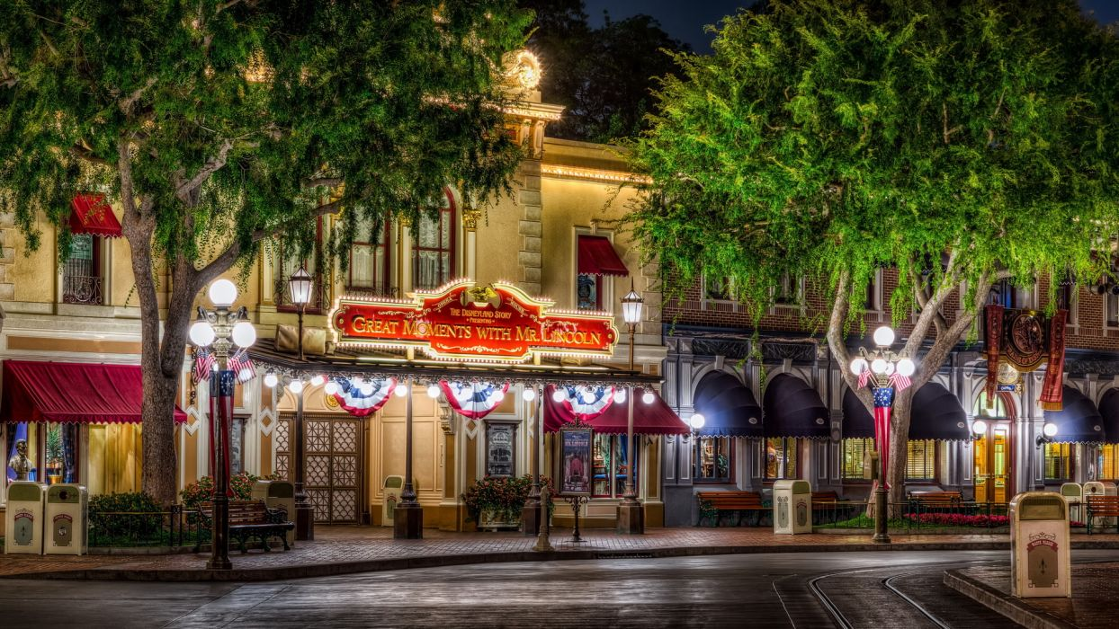 disneyland buildings amusement parks hdr trees festive wallpaper