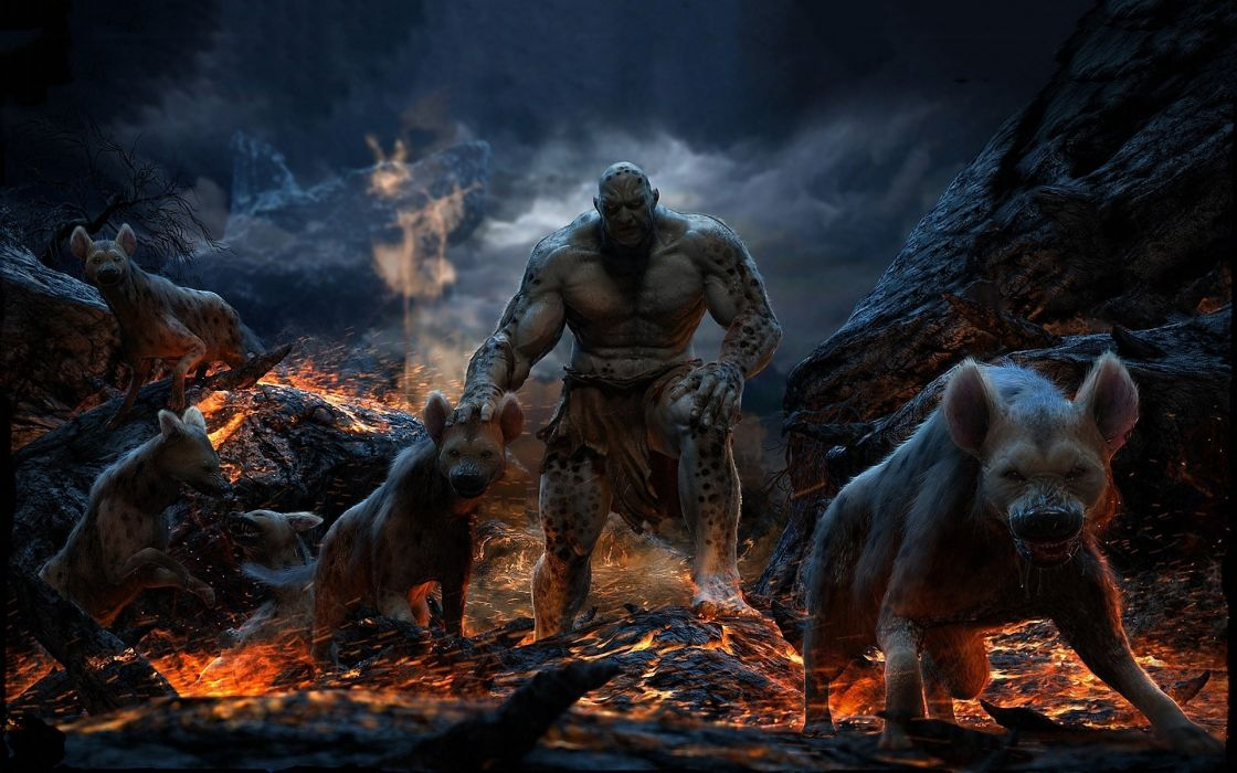 HYENA LORD UNDERWORLD fantasy art dark horror animals dogs demons hell evil scary creepy spooky fire wallpaper