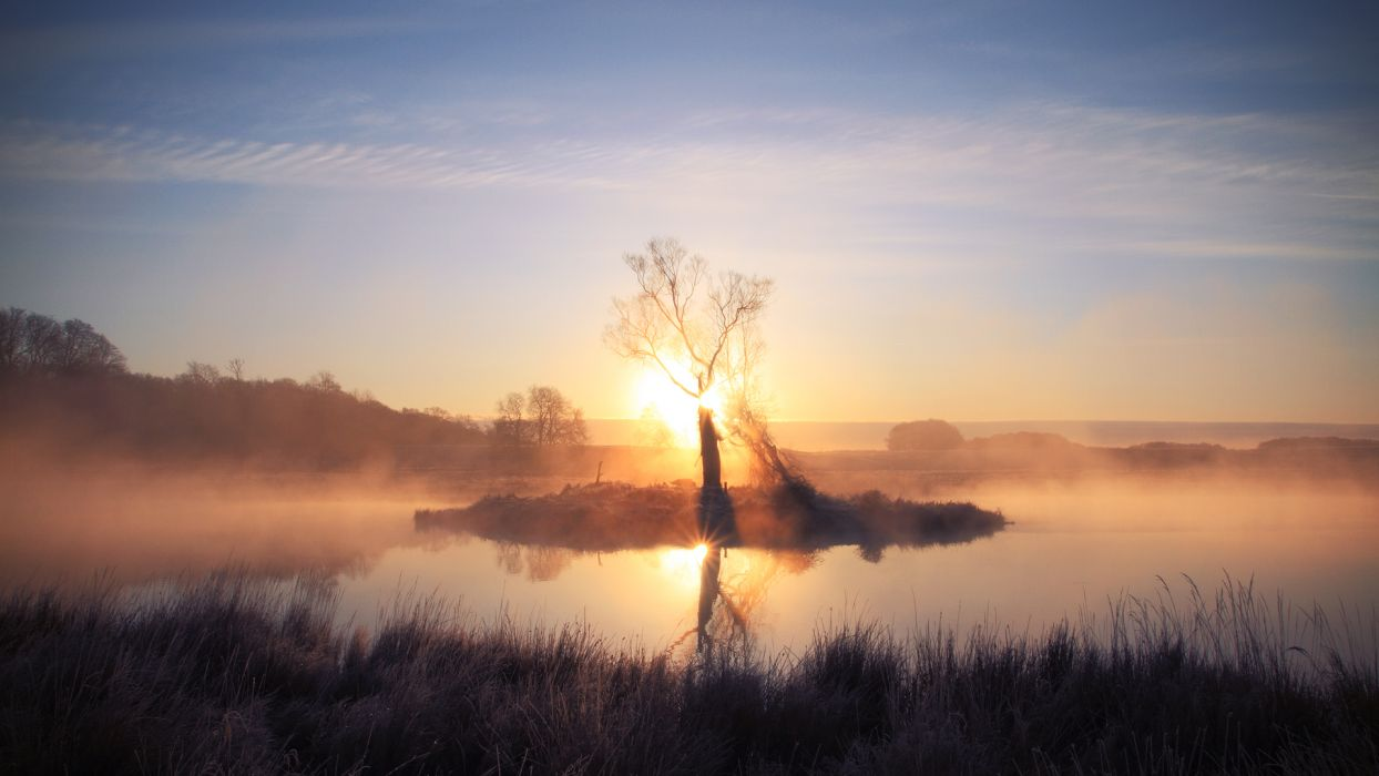 landscapes lakes reflection fog mist dawn morning sky wallpaper