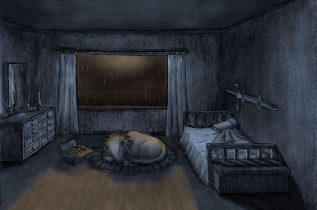 Art Dark Rain Drops Storm Window Room Animals Dogs Bedroom