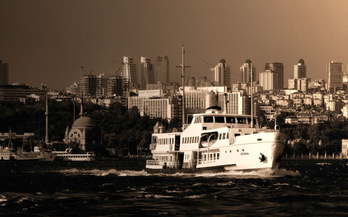 ships turkey istanbul bosphorus cruise boats sepia cities architecture buildings skyline cityscape bay harbor water sailing wallpaper