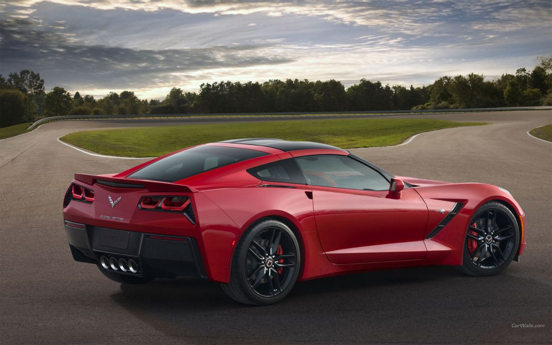 2014 Corvette Stingray chevrolet chevy supercars race track roads red muscle cars wallpaper
