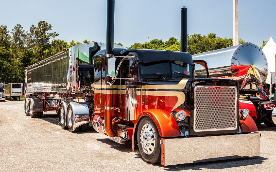 Peterbilt tractor trailer semi big rig custom tuning wallpaper