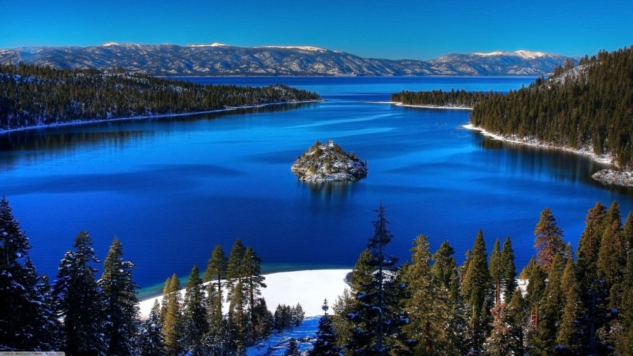 EMERALD BAY landscapes trees forest woods sky mountains winter snow wallpaper