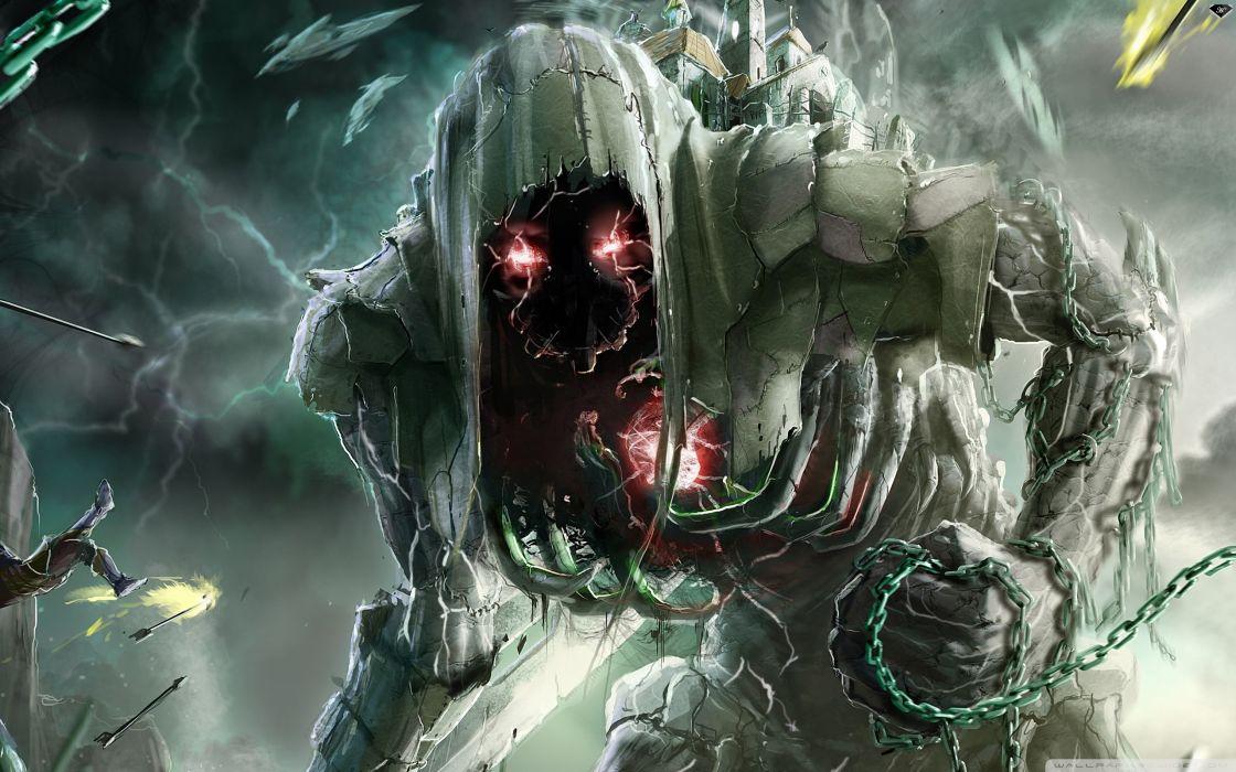 horror death fantasy art warriors chains dark monster creature demon eyes glow wallpaper