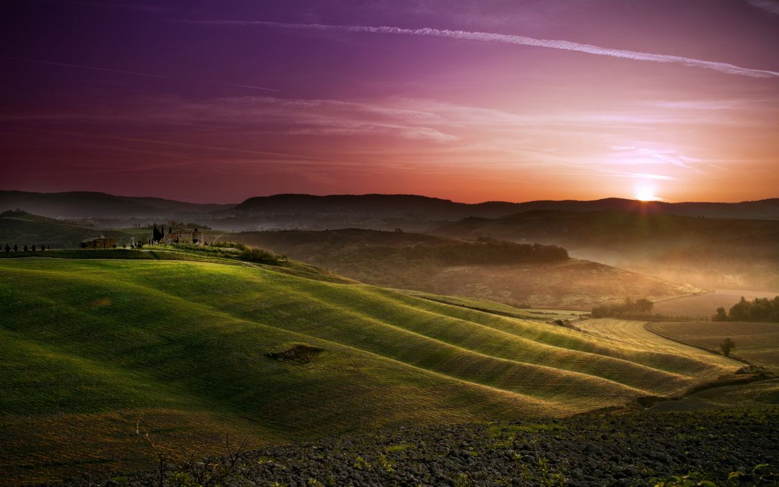hills farm rustic hills fields sky sunrise sunset wallpaper