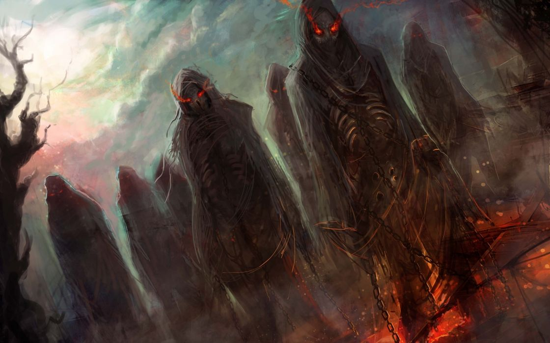 dark horror evil fantasy art demons hell skeletons skulls eyes glow fire chains halloween wallpaper