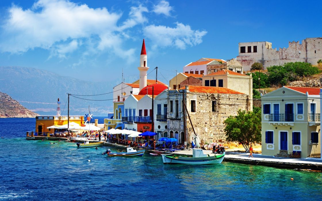 Greece architecture buildings houses islands boats church sky clouds town wallpaper