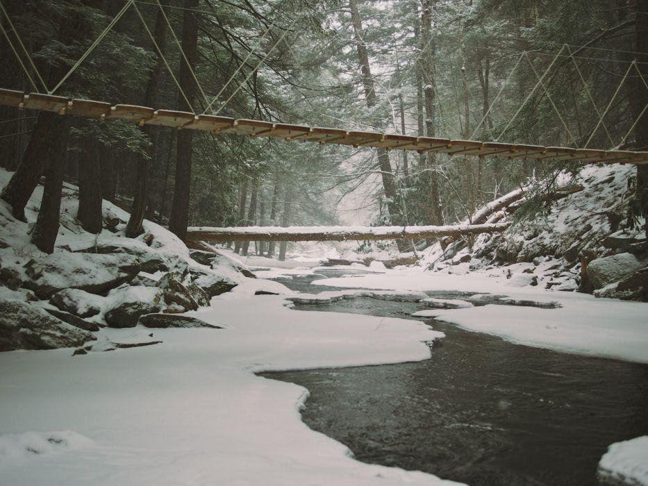 landscapes winter snow ice frozen stream trees forest woods bridges architecture wallpaper