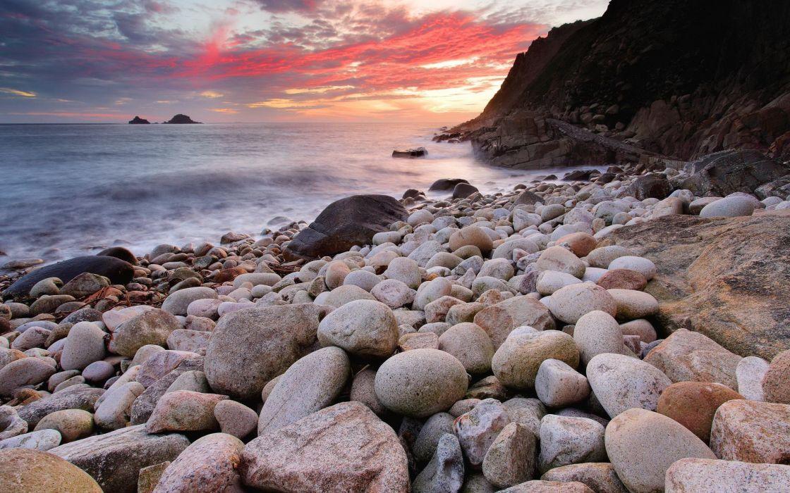 landscapes seascape sunset sunrise ocean sea sky clouds stone rock shore coast wallpaper