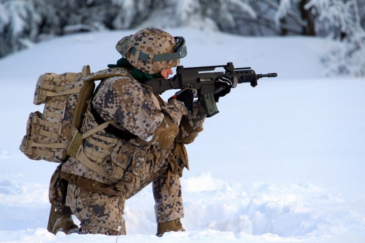 Latvian Army warriors soldiers military weapons assault rifles guns landscapes nature winter snow people men male wallpaper