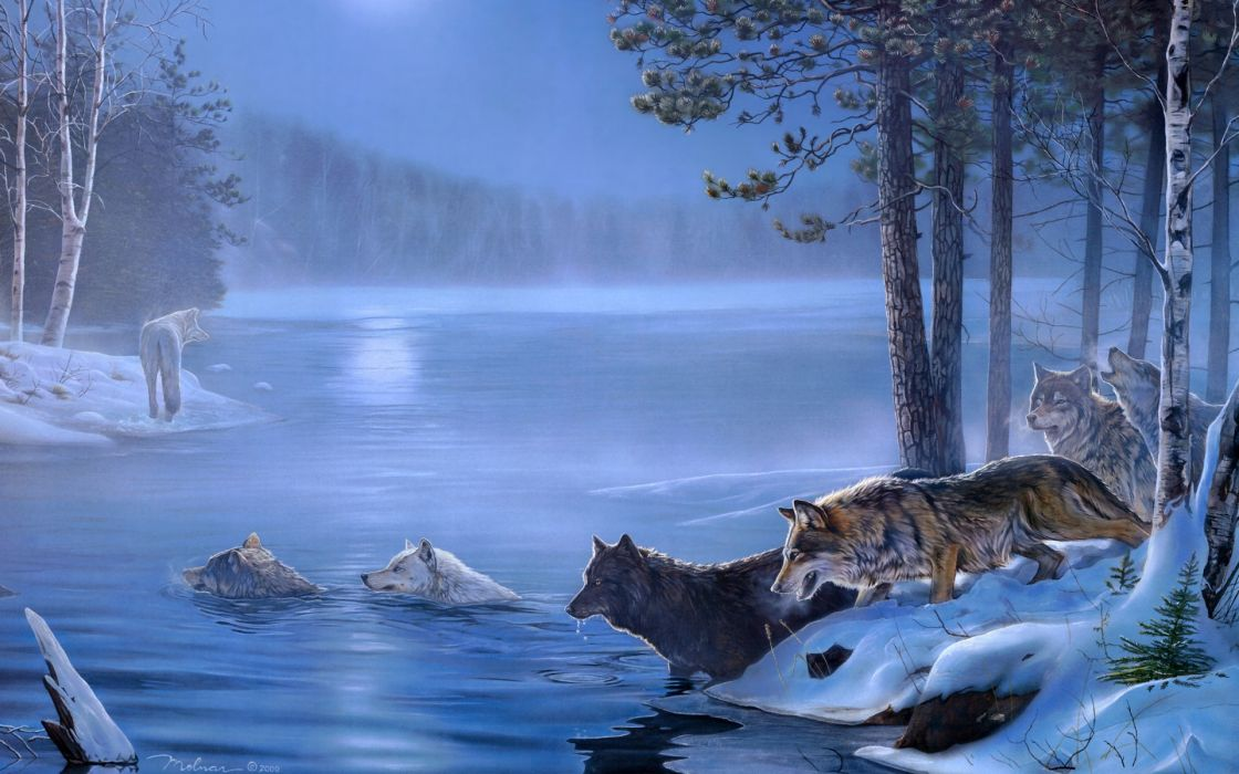 art paintings wolf wolves landscapes trees forest lakes rivers night moon light wallpaper