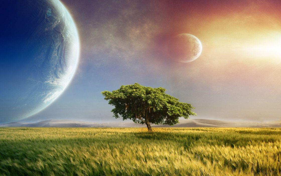 fantasy art cg digital landscapes fields grass trees sky sunset sunrise sci fi science planets moons wallpaper