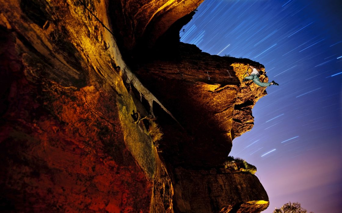 climbing mountains cliff nature sky stars timelapse photography people extreme wallpaper
