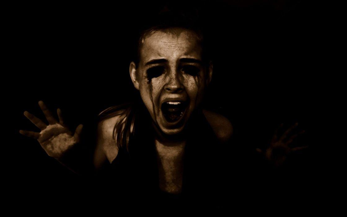 dark horror evil scary creepy spooky halloween women girls blood demons face mood scream emotion macabre wallpaper