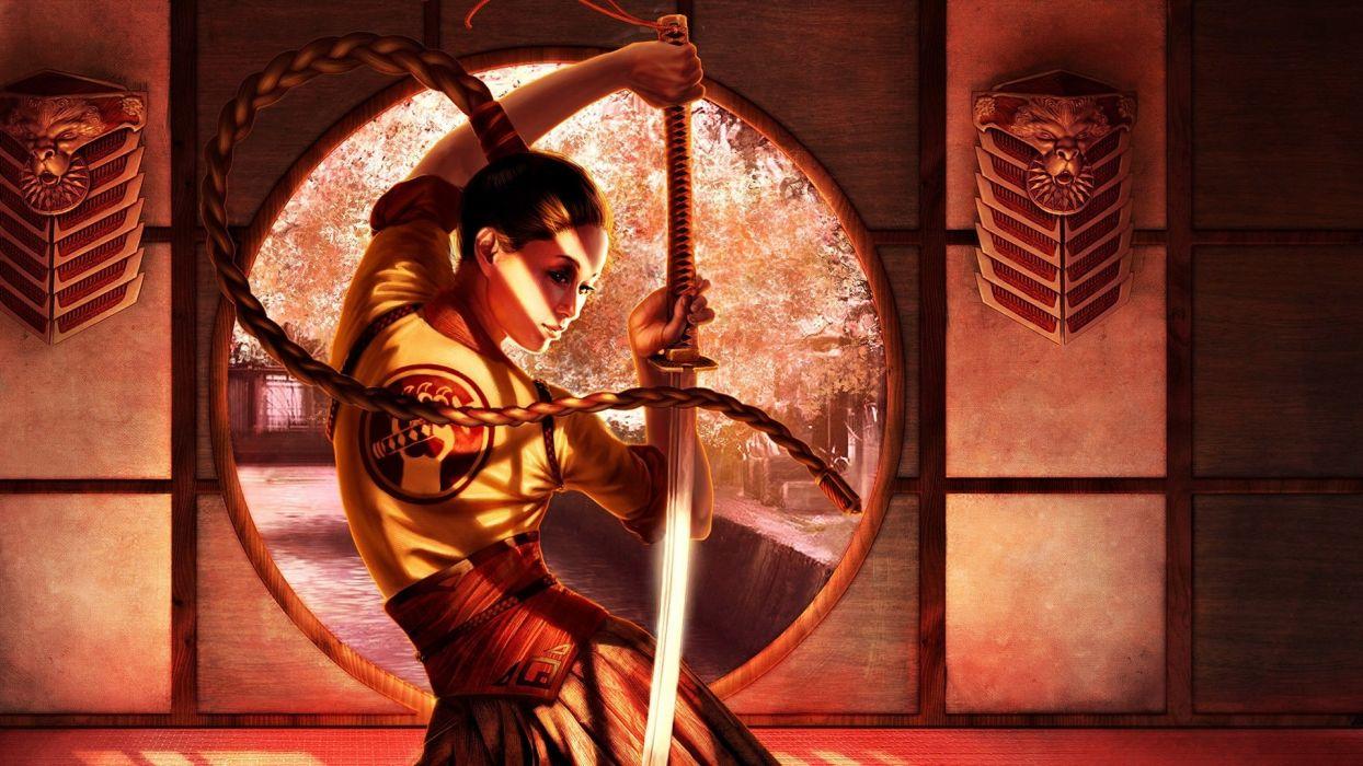 Steve Argyle fantasy art women samurai asians swords 1920x1080 wallpaper Hot Girls Asians HD wallpaper
