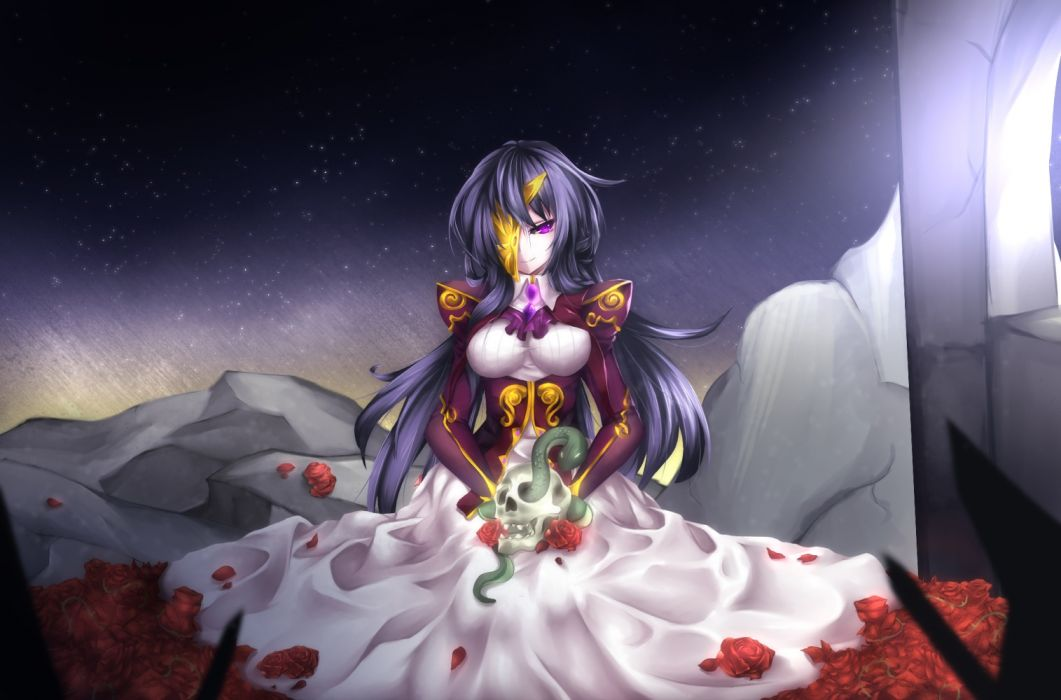 animal dress flowers forbiddenimmortality long_hair mask original purple eyes purple hair rose skull girl art wallpaper