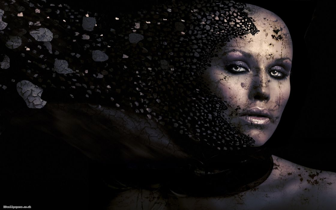 cg digital art women face mood dark horror parts debris  wallpaper
