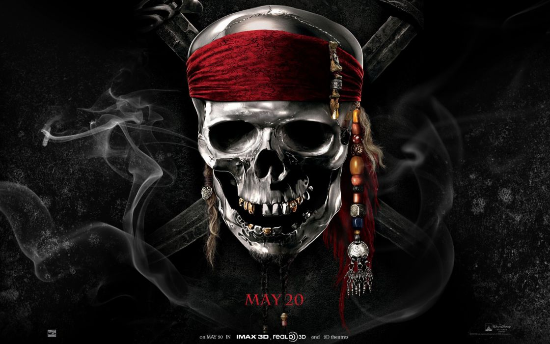Pirates of the Caribbean fantasy dark horror skulls wallpaper