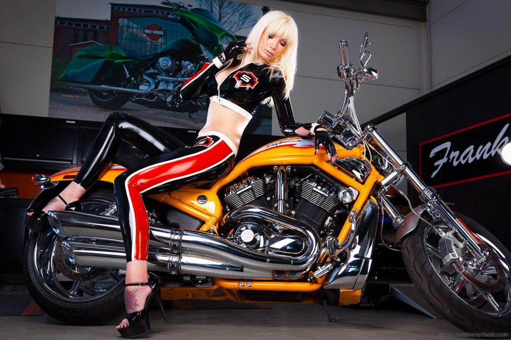 Susan Wayland fetish glamor glamour women latex models blondes sexy babes chopper custom motorcycles bikes wallpaper