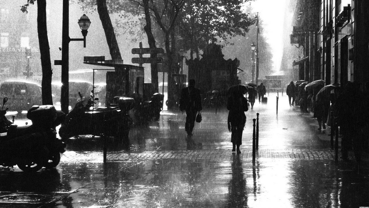Paris France storm rain wet water monochrome black white cities sidewalk people urban buildings wallpaper