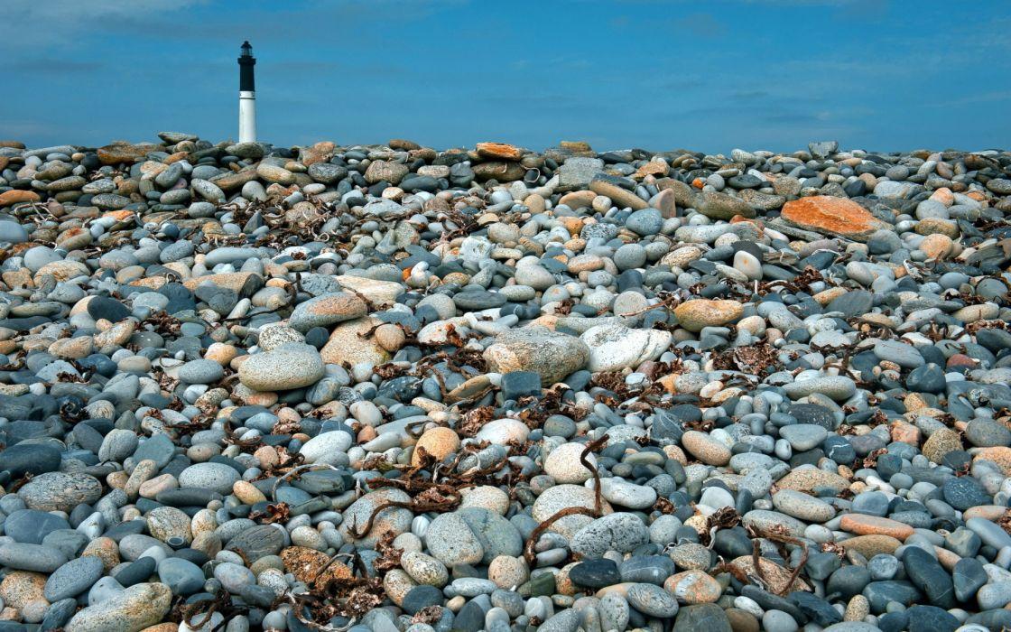 landscapes stone rocks seaweed architecture world lighthouse light lamp sky wallpaper