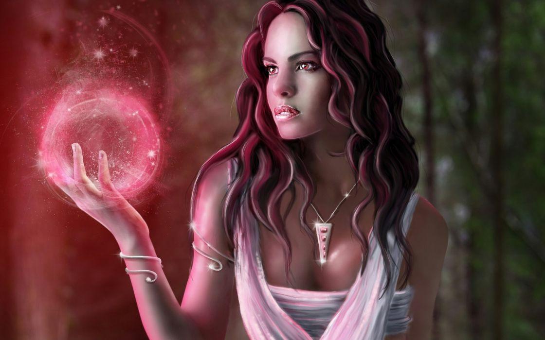 fantasy art cg digital women brunettes magic sphere globe sexy babes wallpaper