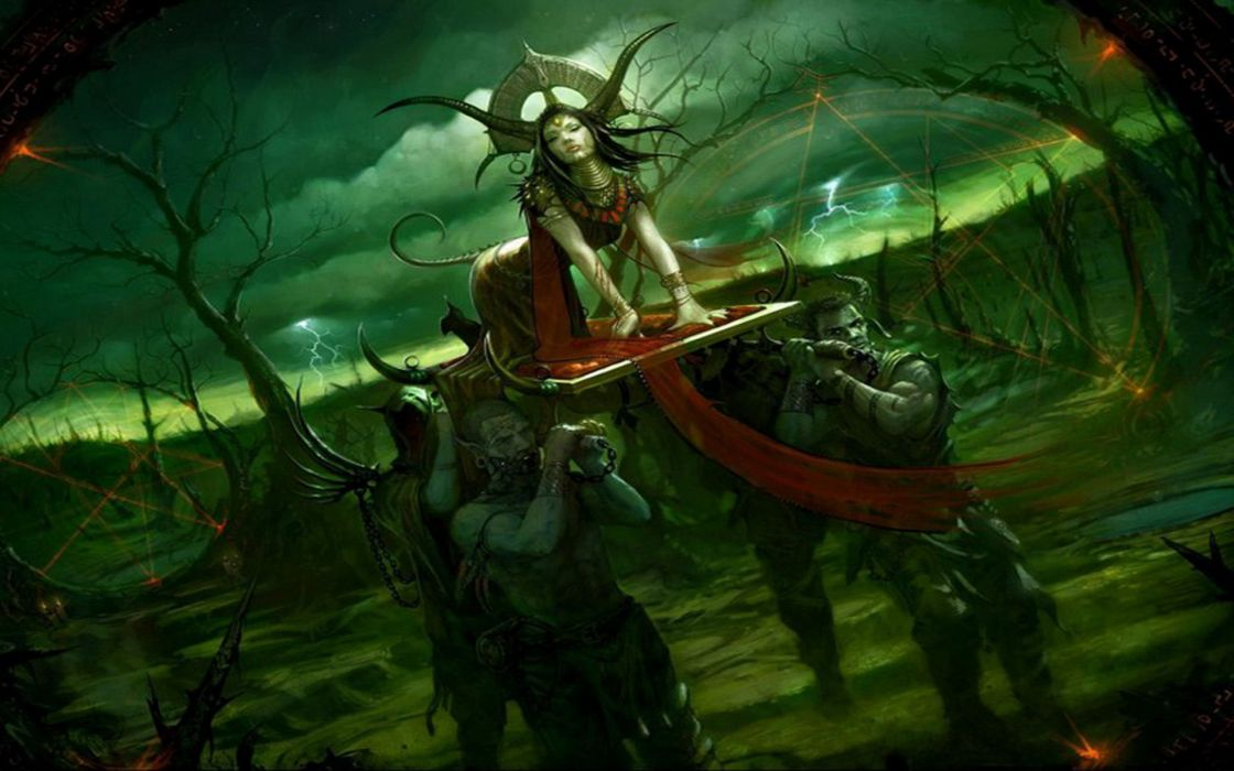 Procession Of The Witch Queen fantasy art dark horror witch evil magic women occult penta  wallpaper