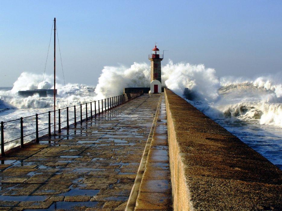 nature sea ocean waves lighthouse wallpaper