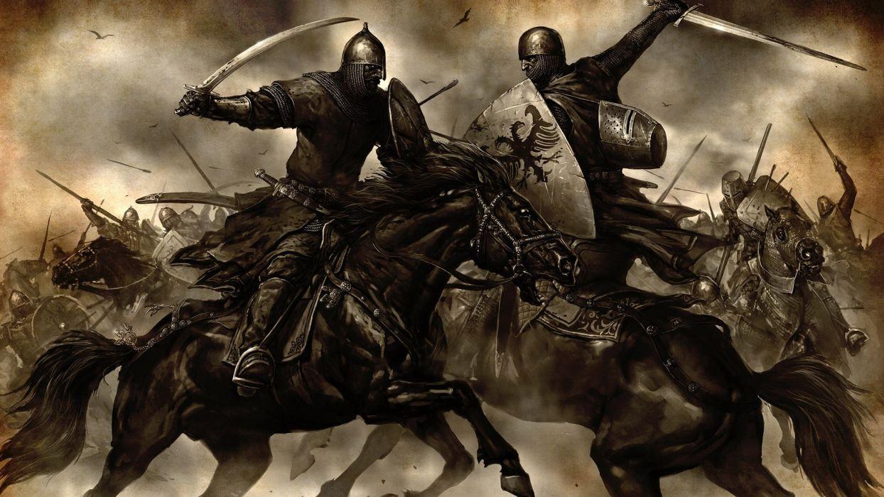 Mount & Blade fantasy art battle warriors knight horse weapons sword wallpaper