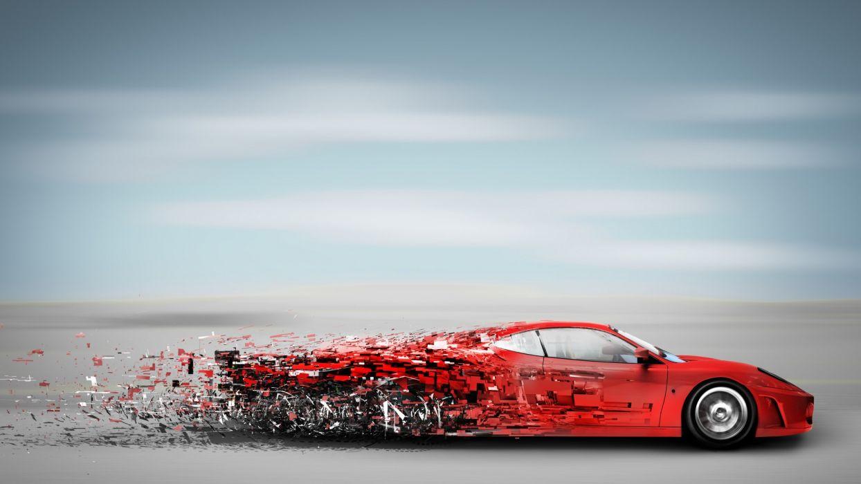 cars vehicles cg digital art fragment pieces red wallpaper