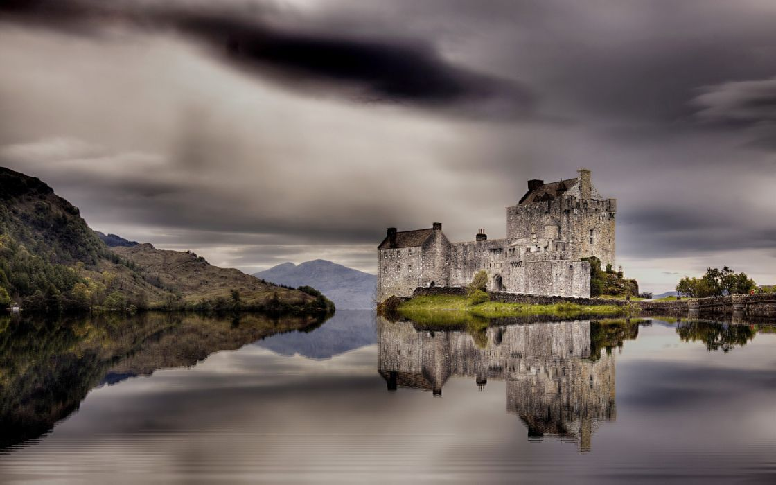 castle buildings ancient lakes water reflection landscapes sky clouds hdr wallpaper