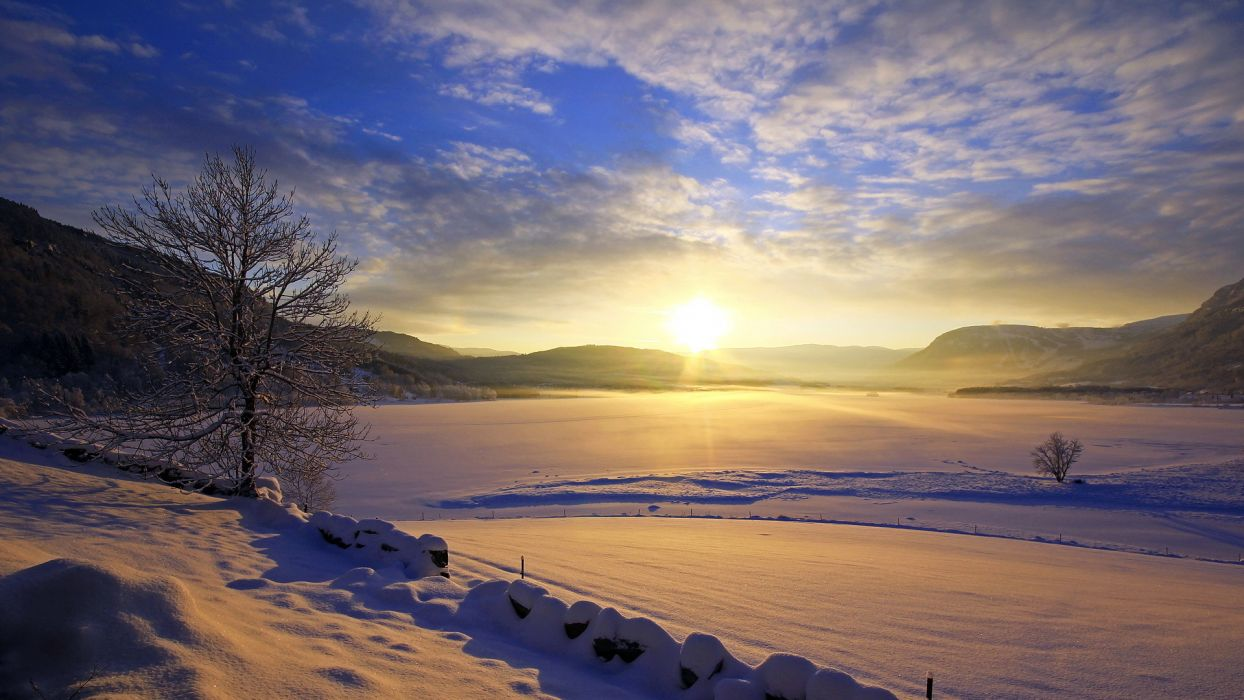 Landscapes Lakes Winter Snow Sunset Sunrise Sky Clouds Ice