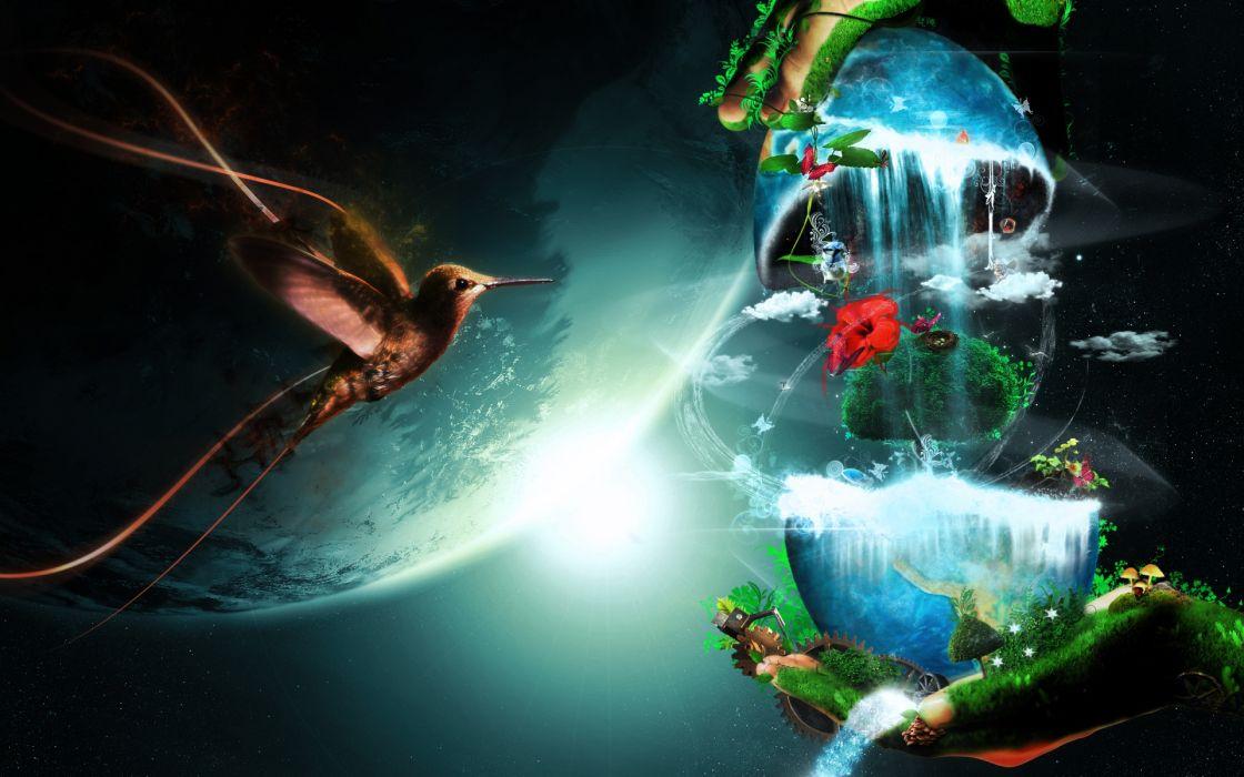 cg digital art earth nature planets sci fi waterfall landscapes sun fantasy wallpaper