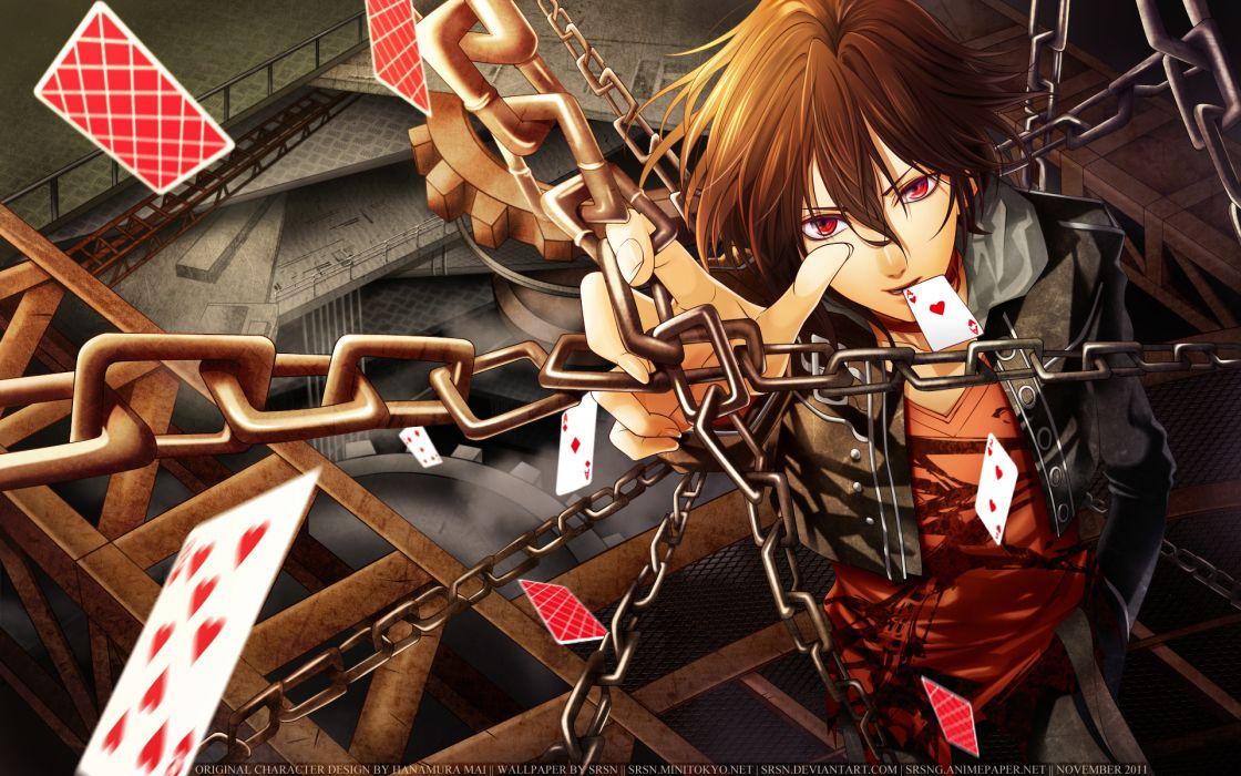 Amnesia Visual Novel vector art chains cards magic boy wallpaper