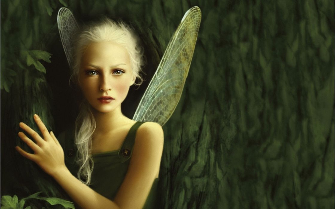 fantasy art fairy fairies wings women blondes face pov trees forest woods leaves magic wallpaper