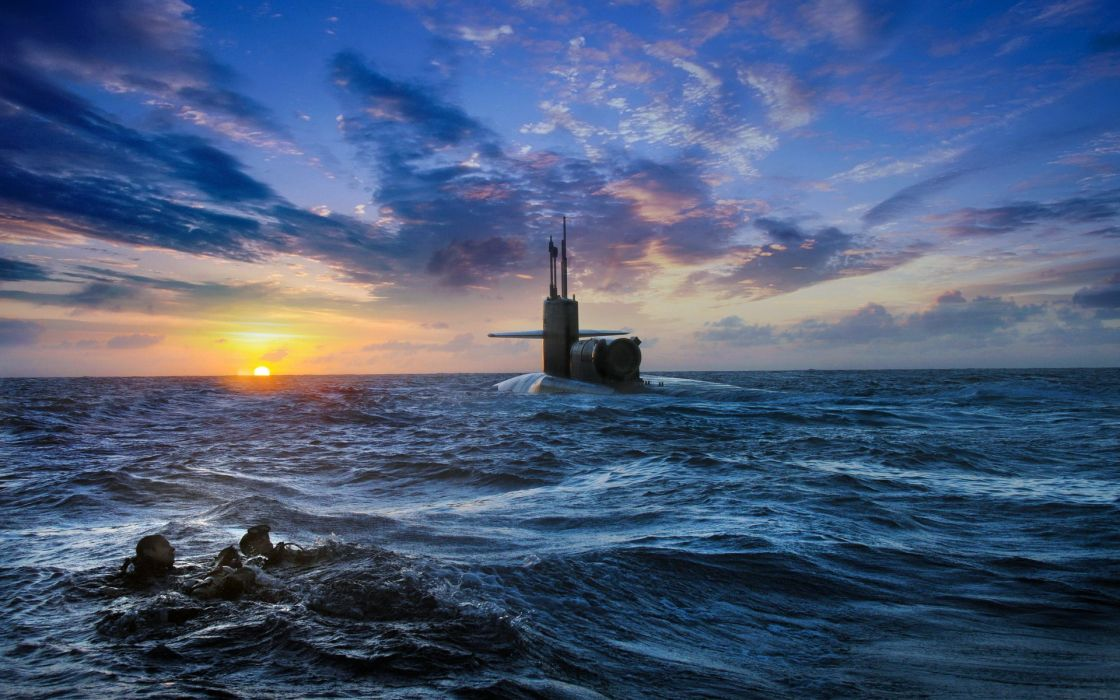 military navy weapons submarines warriors soldiers seals ocean sea hdr sunset sunrise sky clouds wallpaper