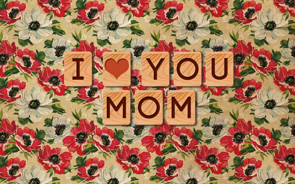 mother's day mom love hearts text statement flowers mood emotion wallpaper