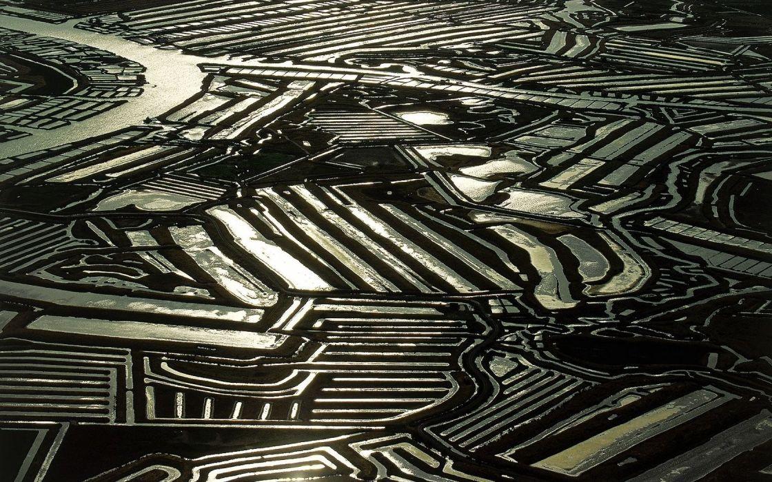 France fields crops farm water reflection scenic rivers flood wallpaper