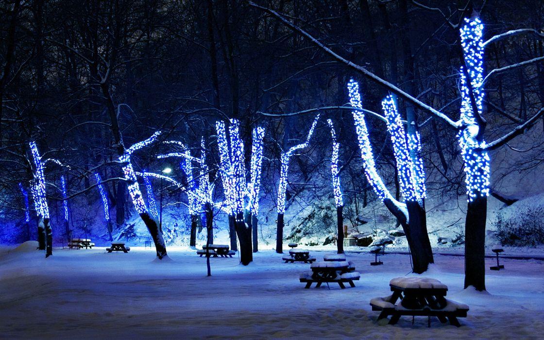 lights trees park bench picnic tables winter snow night wallpaper